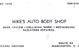 Mike's Auto Body Shop business card 1939.