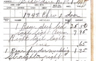Mike's Auto Body receipt 1949.